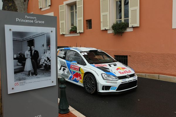 <br>MONTE-CARLO, MONACO - JANUARY 19: Sebastien Ogier of France and Julien Ingrassia of France compete in their Volkswagen Mo