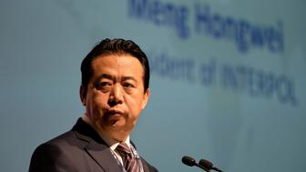 Meng Hongwei, president of Interpol, gives an addresses at the opening of the Interpol World Congress in Singapore on July 4, 2017. - The three-day conference on fostering innovation for future security challenges is taking place from July 4 to 6. (Photo by ROSLAN RAHMAN / AFP)        (Photo credit should read ROSLAN RAHMAN/AFP/Getty Images)