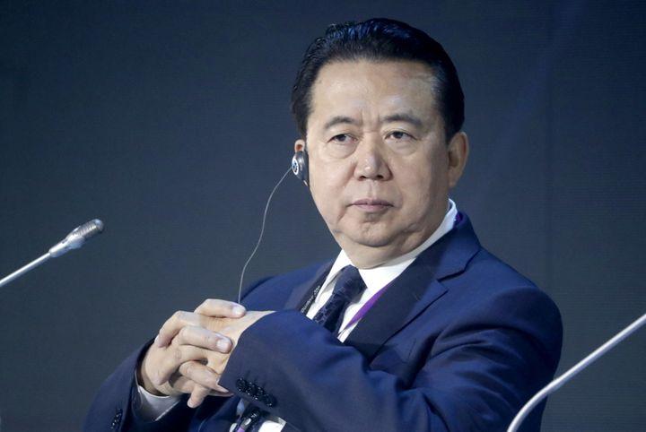 Interpol President Meng Hongwei at an International Cybersecurity Congress at Moscow's World Trade Centre.