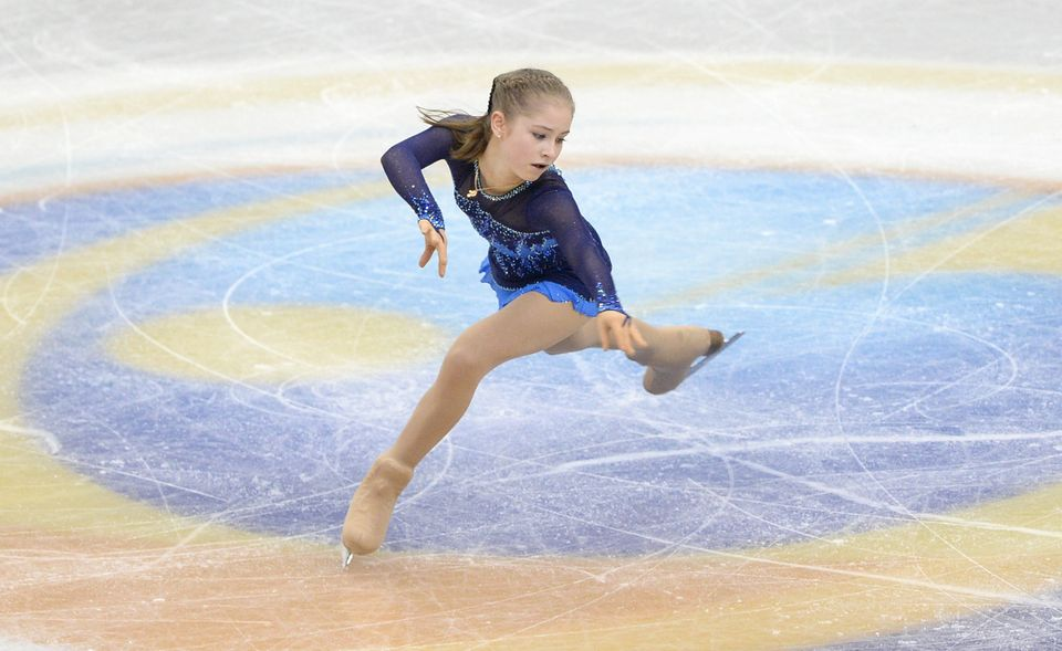 Russian skater Julia Lipnitsukaia performs during the women's short program of the ISU figure skating Grand Prix Final in Fuk