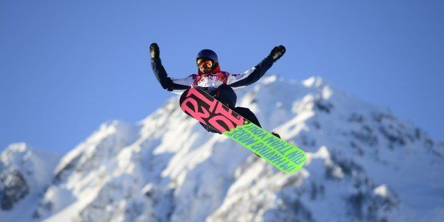 Great Britain's Billy Morgan competes in the Men's Snowboard Slopestyle qualification at the Rosa Khutor Extreme Park during