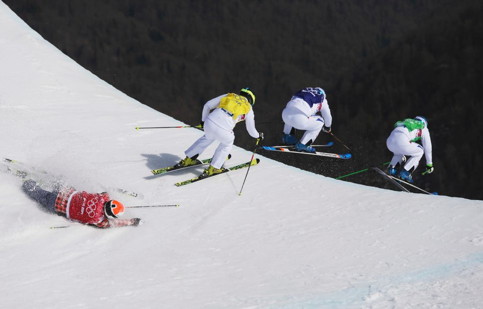 Jean Frederic Chapuis of France, right, leads compatriots Arnaud Bovolenta, second right, and Jonathan Midol, third right, as