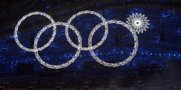 The Olympic rings are presented during the Opening Ceremony of the Sochi Winter Olympics at the Fisht Olympic Stadium on Febr