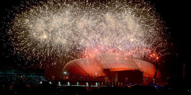 SOCHI, RUSSIA - FEBRUARY 7:  Fireworks light up the sky over the Fisht Olympic Stadium at end of the opening ceremony of the