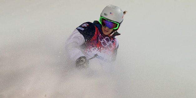 SOCHI, RUSSIA - FEBRUARY 08:  Hannah Kearney of the United States competes in the Ladies' Moguls Final 3 on day one of the So