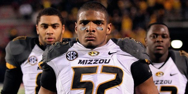 OXFORD, MS - NOVEMBER 23:  Michael Sam #52 of the Missouri Tigers participates in pregame activities prior to a game against