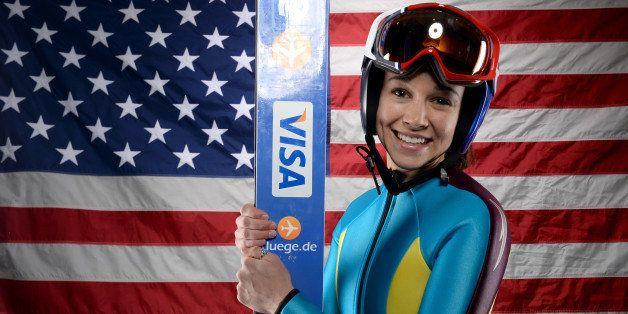 PARK CITY, UT - OCTOBER 01:  Ski Jumper Sarah Hendrickson poses for a portrait during the USOC Media Summit ahead of the Soch