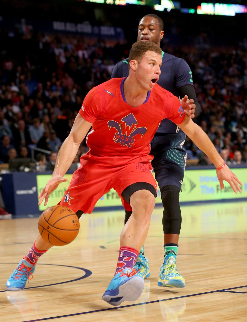 NEW ORLEANS, LA - FEBRUARY 16:  The Western Conference's Blake Griffin #32 of the Los Angeles Clippers takes the ball as the