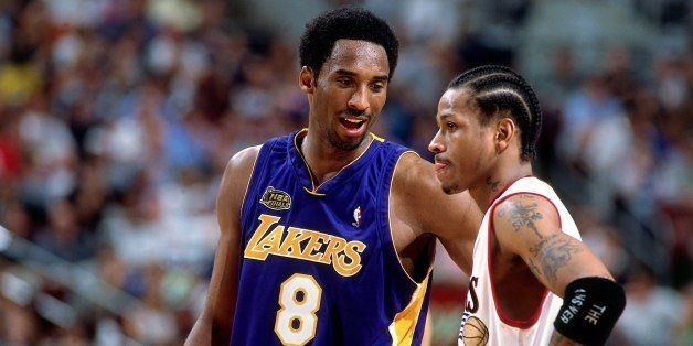 PHILADELPHIA - JUNE 15:  Kobe Bryant #8 of the Los Angeles Lakers chats with Allen Iverson #3 of the  Philadelphia76ers durin