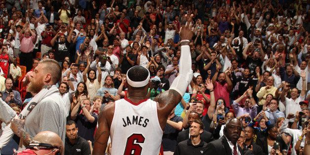 MIAMI, FL - March 3: LeBron James #6 of the Miami Heat greets the crowd after setting a career high and franchise setting rec