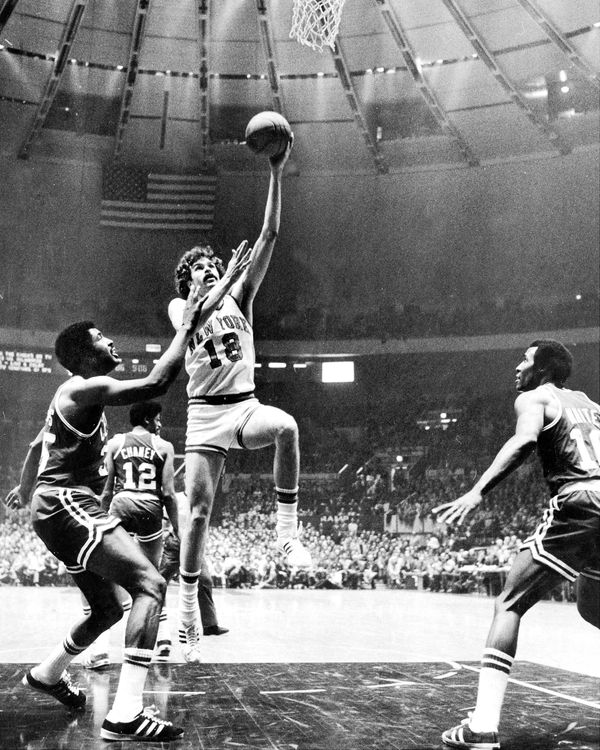 Knicks vs Boston at Madison Square Garden, Phil Jackson drives in two points. (Photo by Vincent Riehl/NY Daily News Archive v