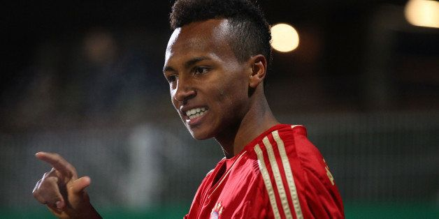 GROSSASPACH, GERMANY - OCTOBER 29:  Julian Green of Muenchen celebrates his goal during the A Juniors Bundesliga match betwee