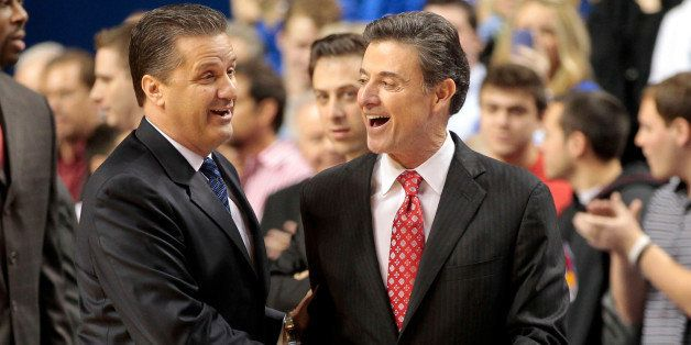 Kentucky Wildcats head coach John Calipari, left, greetedd Louisville Cardinals head coach Rick Pitino before the game at Rup