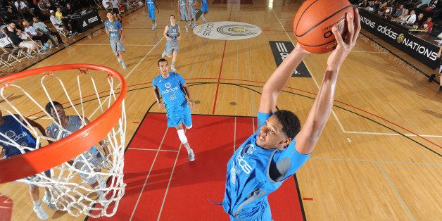 LONG BEACH, CA - August 6: Jahlil Okafor of the Blue Team with the dunk during the adidas Nations on August 6, 2012 at Long B