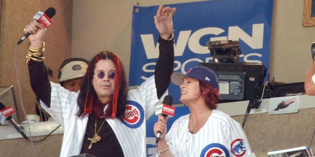 CHICAGO - AUGUST 17:  Celebrity Ozzy Osbourne and his wife Sharon sing 'Take Me Out to the Ball Game' during the seventh inni