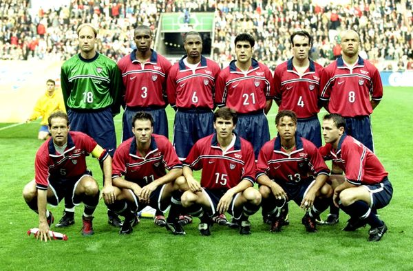 15 Jun 1998:   USA line up before the World Cup group F game against Germany at the Parc des Princes in Paris. USA lost 2-0.