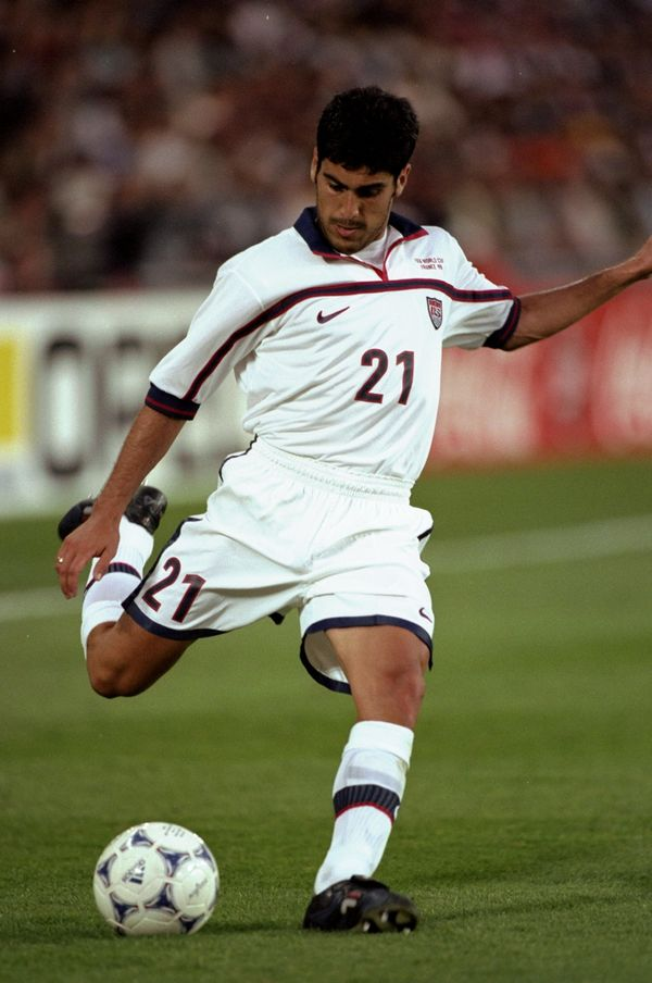 25 Jun 1998:  Claudio Reyna of the USA kicks the ball in the match between Yugoslavia v USA in the 1998 World Cup played in N