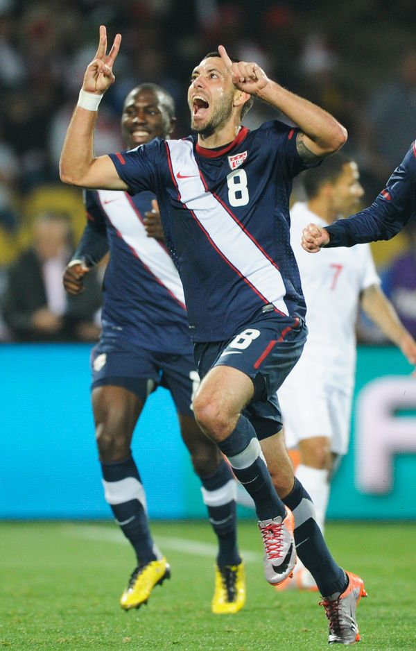 RUSTENBURG, SOUTH AFRICA - JUNE 12:  Clint Dempsey of the United States celebrates his goal during the 2010 FIFA World Cup So