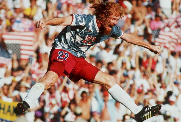 FILES,- JUNE 22: US national team defender Alexi Lalas jumps in the air 22 June 1994 as he celebrates after the US defeated C