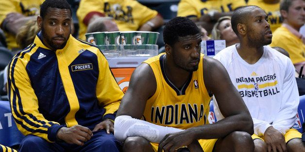 INDIANAPOLIS - MAY 5: Indiana Pacers center Roy Hibbert (55), center, on the Pacers bench during the second half of the firs