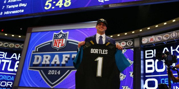 NEW YORK, NY - MAY 08:  Blake Bortles of the UCF Knights poses with a jersey after he was picked #3 overall by the Jacksonvil