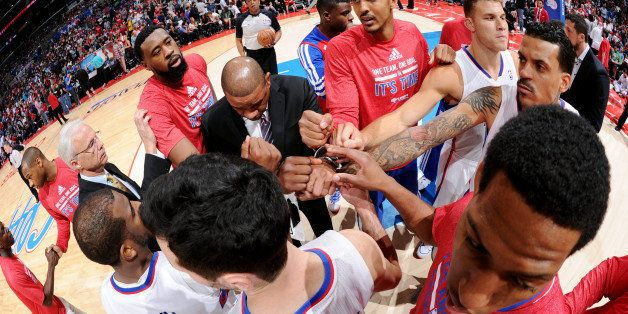 LOS ANGELES, CA - MAY 11: The Los Angeles Clippers huddle up before a game against the Oklahoma City Thunder in Game Four of