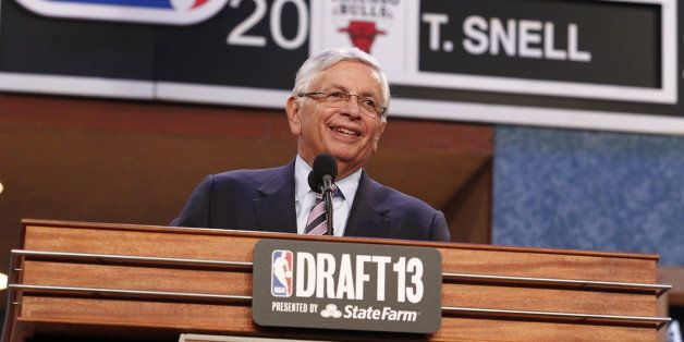 NEW YORK, NY - JUNE 27: NBA Commissioner David Stern announces drafts picks during the 2013 NBA Draft at the Barclays Center