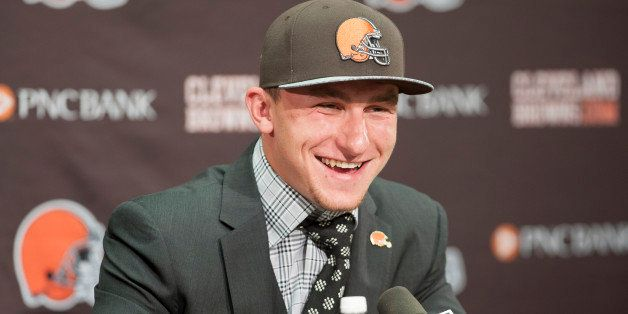 BEREA, OH - MAY 9: Cleveland Browns draft pick Johnny Manziel is answers questions during a press conference at the Browns tr