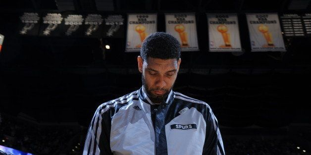 SAN ANTONIO, TX - MAY 21: Tim Duncan #21 of the San Antonio Spurs before the game against the Oklahoma City Thunder in Game T
