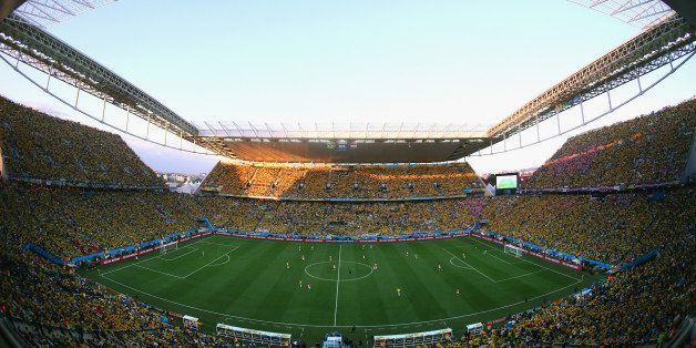 SAO PAULO, BRAZIL - JUNE 12: A general view at the start of the 2014 FIFA World Cup Brazil Group A match between Brazil and C