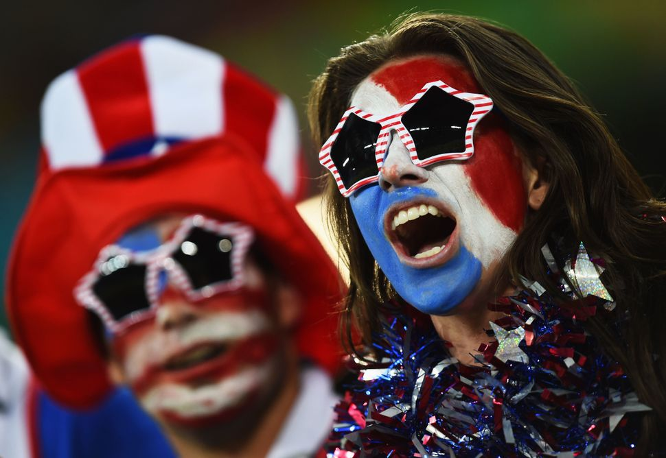 United States fans cheer prior to the 2014 FIFA World Cup Brazil Group G match between Ghana and the United States at Estadio