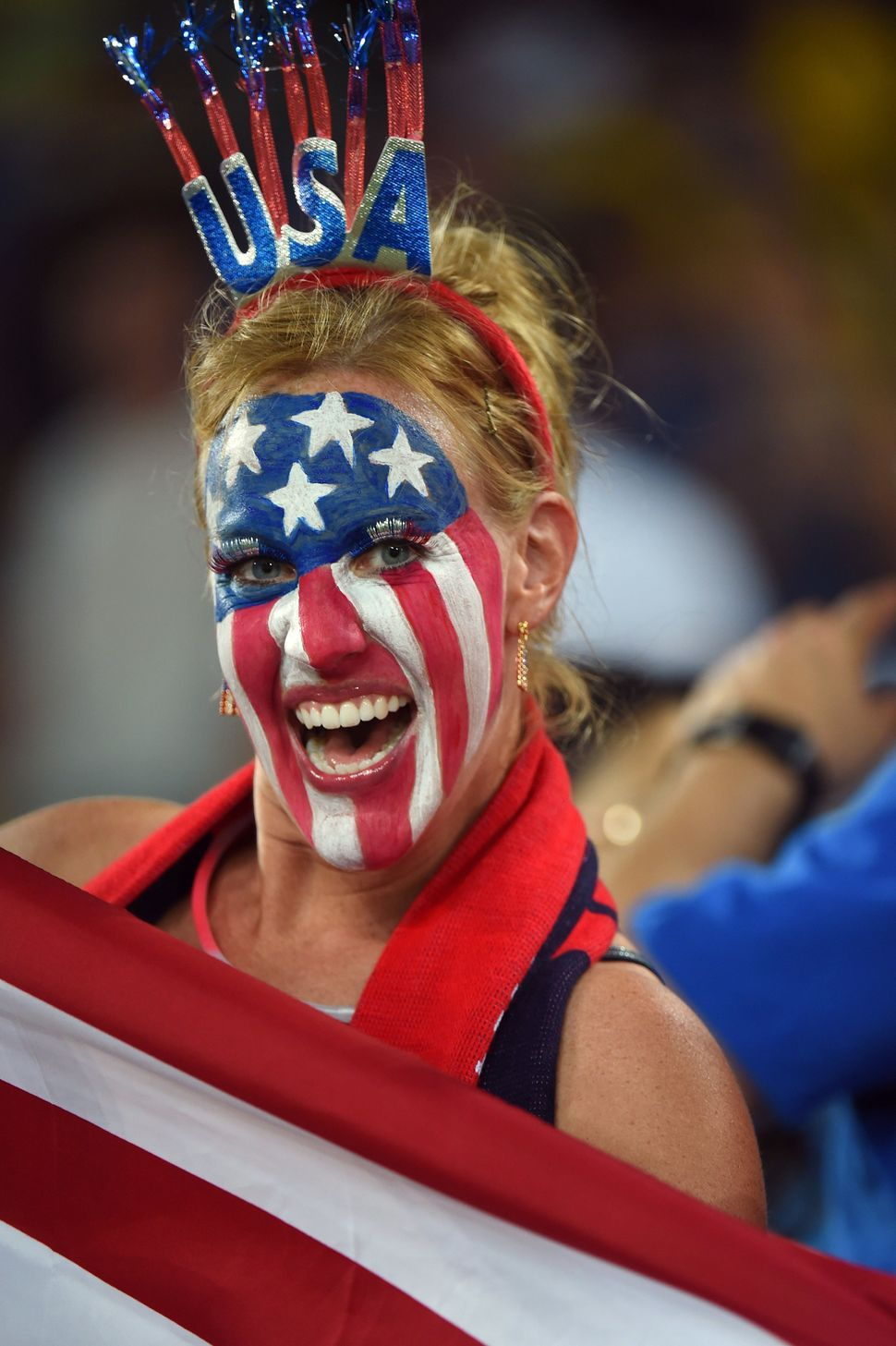 An US fan cheers before a Group G football match between Ghana and US at the Dunas Arena in Natal during the 2014 FIFA World