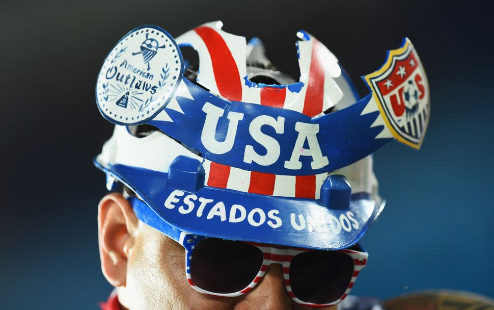 A fan of the United States looks on pior to kickoff during the 2014 FIFA World Cup Brazil Group G match between Ghana and the