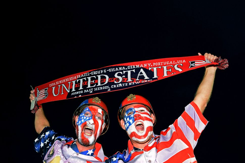 United States fans enjoy the atmosphere prior to kickoff during the 2014 FIFA World Cup Brazil Group G match between Ghana an