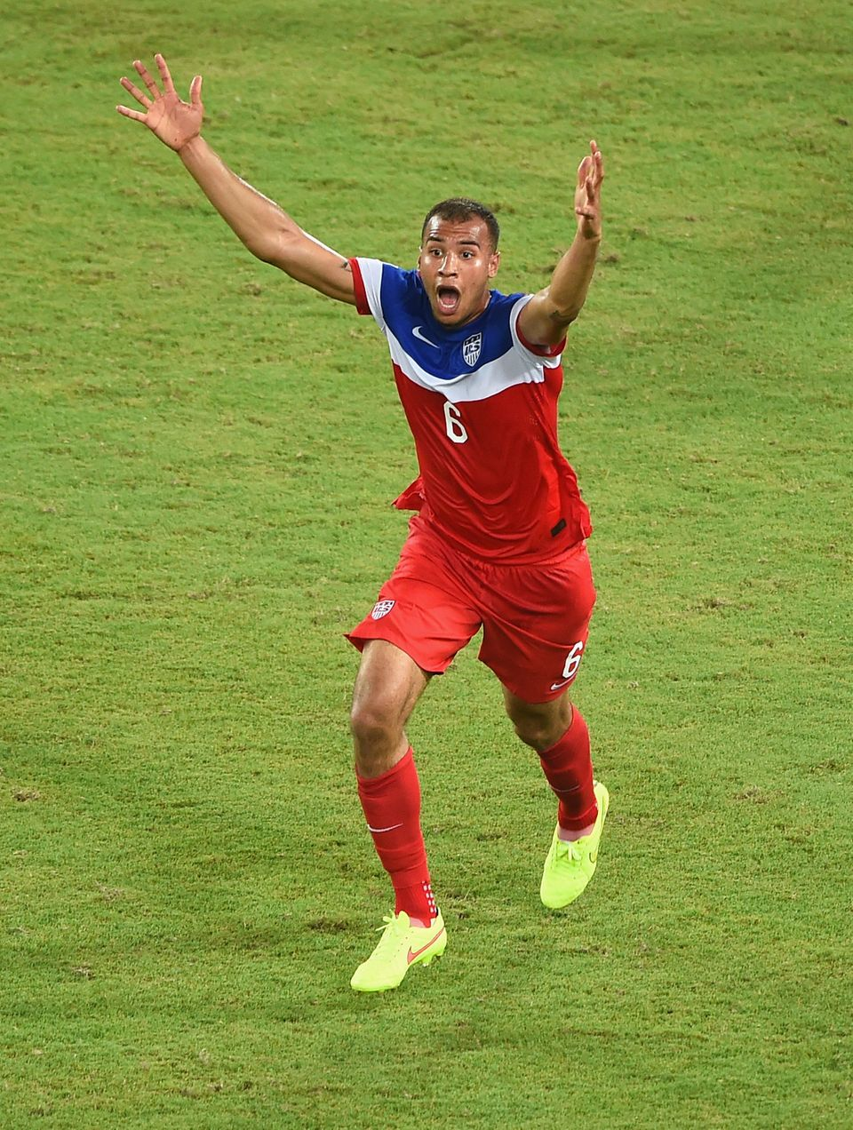 NATAL, BRAZIL - JUNE 16: John Brooks of the United States celebrates after scoring his team's second goal during the 2014 FIF