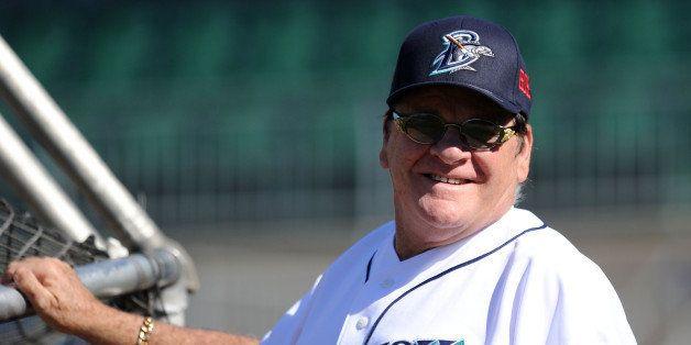 BRIDGEPORT, CT - JUNE 16:  Former Major League Baseball player Pete Rose looks on during batting practice prior to managing t