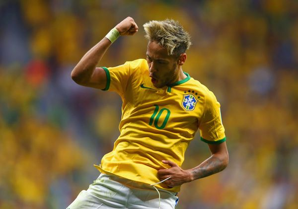 BRASILIA, BRAZIL - JUNE 23:  Neymar of Brazil celebrates scoring his team's second goal and his second of the game during the