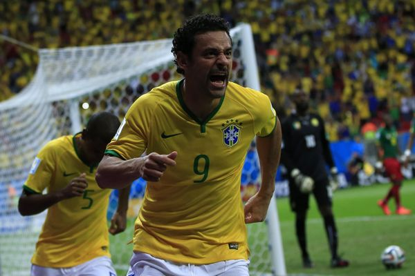 Brazil's forward Fred celebrates after scoring a goal during the Group A football match between Cameroon and Brazil at the Ma