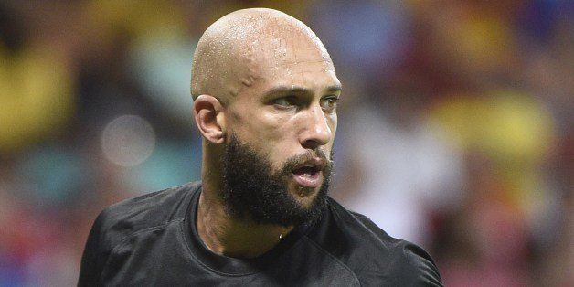 US goalkeeper Tim Howard during a Round of 16 football match between Belgium and USA at Fonte Nova Arena in Salvador during t
