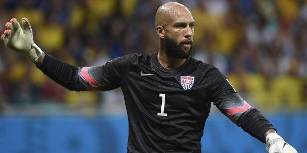US goalkeeper Tim Howard reacts after the Round of 16 football match between Belgium and USA at Fonte Nova Arena in Salvador
