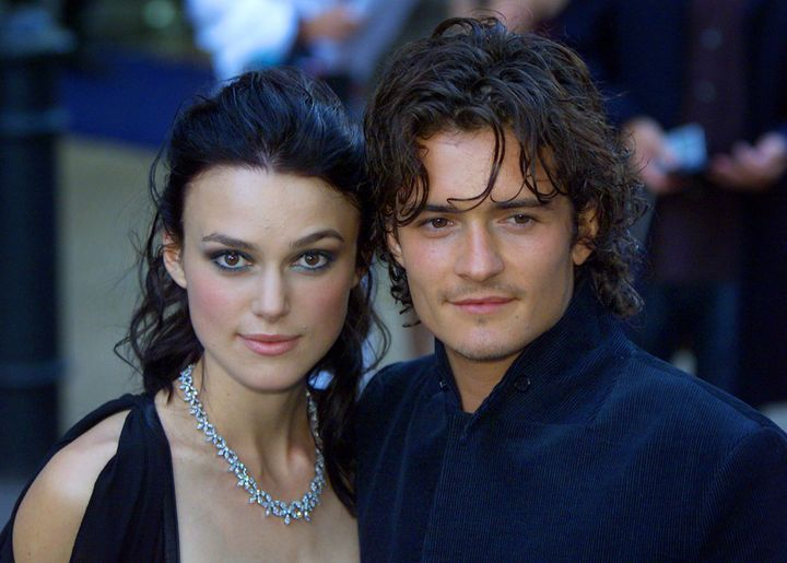 "Keira Knightley and Orlando Bloom arrive for the European premier of the ""The Pirates of the Caribbean: The Curse of the Black Pearl"" in London on July 14, 2003."
