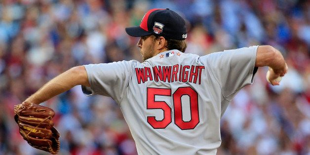 MINNEAPOLIS, MN - JULY 15:  National League All-Star Adam Wainwright #50 of the St. Louis Cardinals pitches against the Ameri