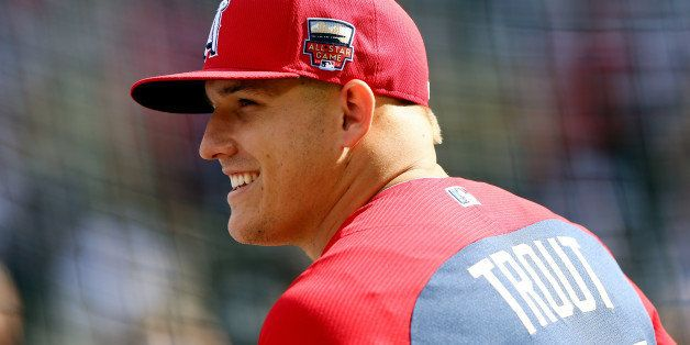 MINNEAPOLIS, MN - JULY 15: American League All-Star Mike Trout #27 of the Los Angeles Angels looks on during batting practice