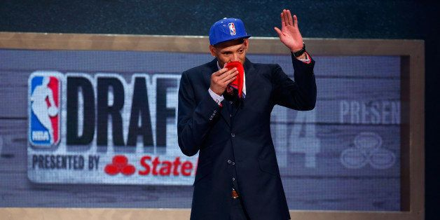NEW YORK, NY - JUNE 26:  Isaiah Austin of Baylor is honored on stage during the 2014 NBA Draft at Barclays Center on June 26,