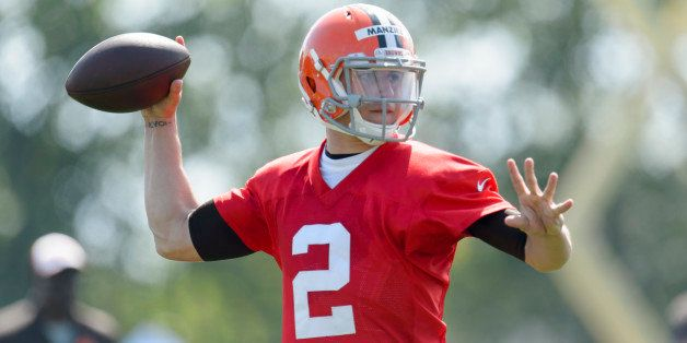BEREA, OH - JULY 26: Rookie quarterback Johnny Manziel #2 of the Cleveland Browns during training camp at the Cleveland Brown