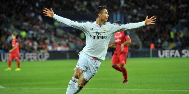 Real Madrid's Portuguese striker Cristiano Ronaldo celebrates scoring his second goal during the UEFA Super Cup football matc