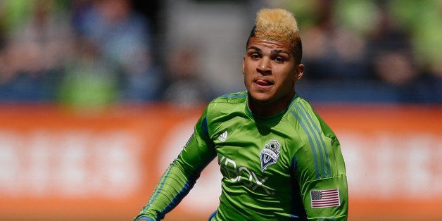 SEATTLE, WA - APRIL 26:  DeAndre Yedlin #17 of the Seattle Sounders FC follows the play against the Colorado Rapids at Centur
