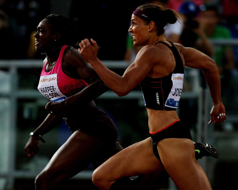 ROME, ITALY - JUNE 06: (L-R) Harper -Nelson Dawn and Lolo Jones of United States compete in the 100m hurdles women's race at