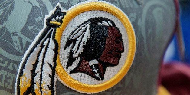 The Washington Redskins football team logo is displayed on a hat for sale at a store in San Francisco, California, U.S., on W