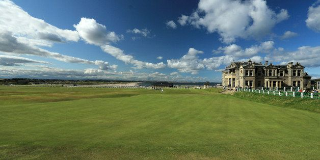 ST ANDREWS, UNITED KINGDOM - JULY 29:  A view of the clubhouse of the Royal and Ancient Golf Club of St Andrews, with the 18t
